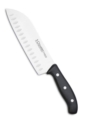 3 Claveles - Cuchillo japonés Santoku Alveolado, carne pescado y verdura, Acero Inoxidable, línea DOMVS - (18cm - 7