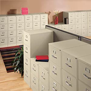 HON 4-Drawer Filing Cabinet - 310 Series Full-Suspension Letter File Cabinet, 26-1/2-Inch Drawers, Putty (H314)