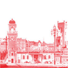 Image of illy's headquarters location of Trieste Italy with a red treatment