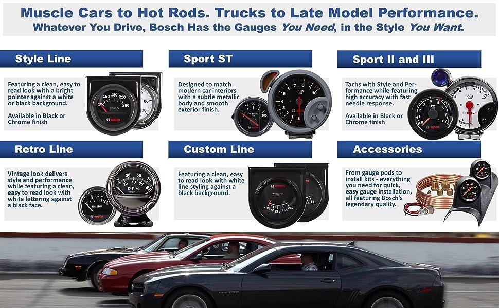 Bosch Gauges Muscle Car Hot Rod Truck Late Model Style Line Sport ST Sport II III Retro Custom