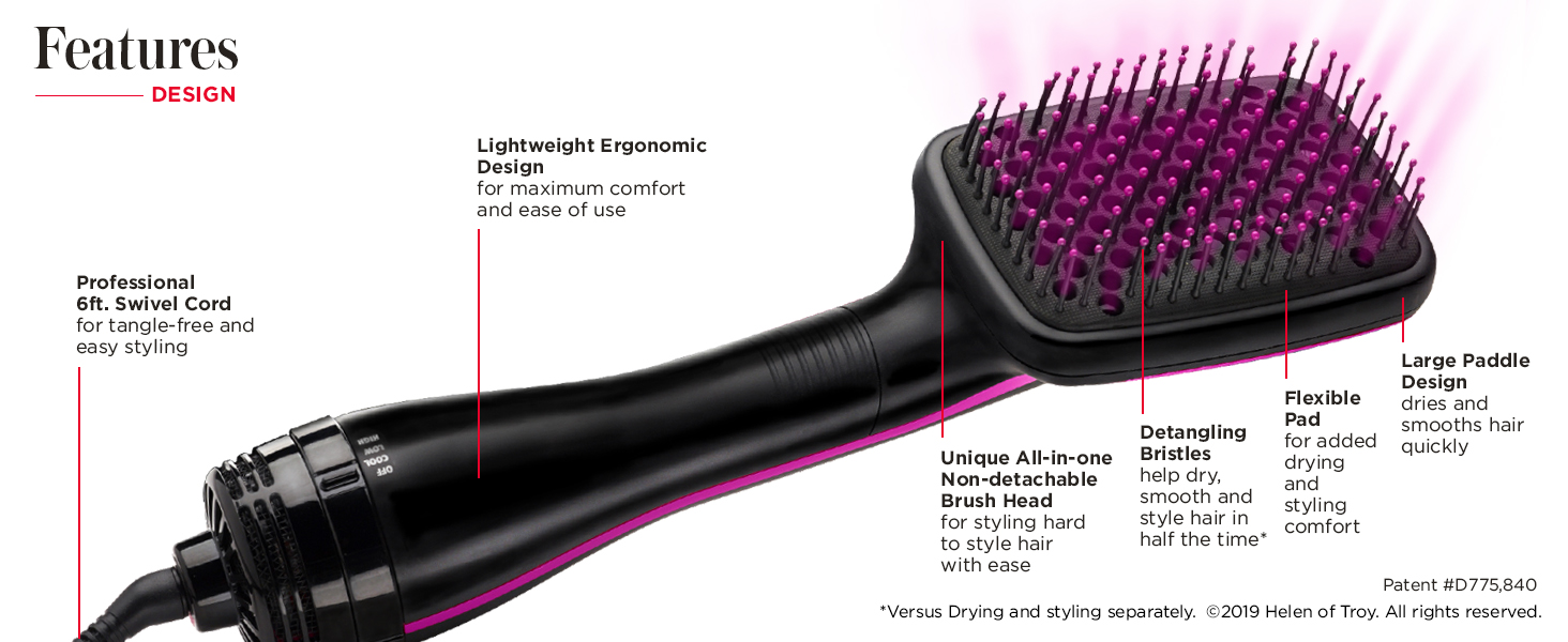 paddle hair brush; hot air brush; one step; revlon one step
