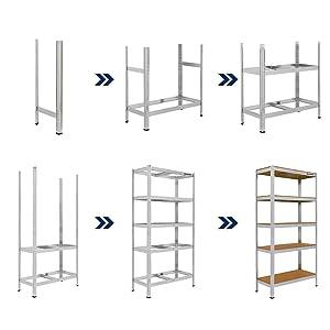 Set de dos estanterías T-LoVendo, vista completa, detalles.