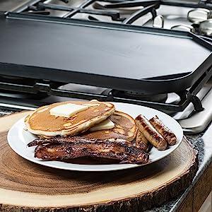 double burner grill griddle breakfast food