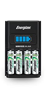 Energizer Rechargeable AA and AAA Battery Charger (Recharge Pro) with 4 AA NiMH Rechargeable Batteries, Auto-Safety Feature, Over-charge Protection - ...