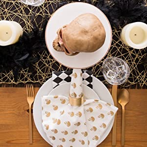 haloween dinner,skull candy tablecloth,spider napkins,cloth gold napkins,spooky halloween cloth