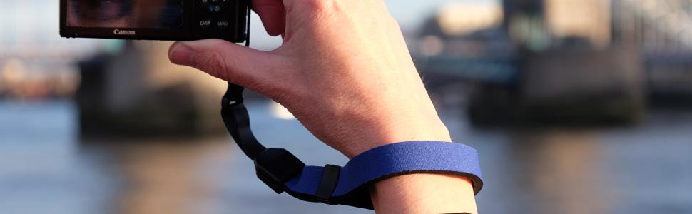 A simple wriststrap tether for securing smaller cameras while traveling and sightseeing