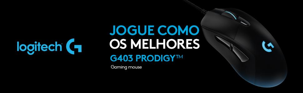 Mouse RGB para Jogo com Fio G403 Prodigy, 16 8 Milhões de Cores de  Iluminação de Fundo, 6 Botões Programáveis, Memória Onboard, Até 12 000  Dpi,