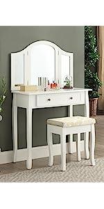 Amazon Com Roundhill Furniture Sanlo White Wooden Vanity