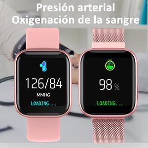BANLVS Smartwatch, 1.4 Inch Reloj Inteligente IP67 con Pulsómetro Presión Arterial, Monitor de Sueño Podómetro Contador de Caloría, Smartwatch Mujer ...
