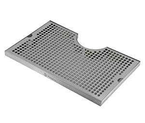 """Kegco SECO-1610 16"""" x 10"""" Stainless Steel Drip Tray with 3"""" Cut-Out"""