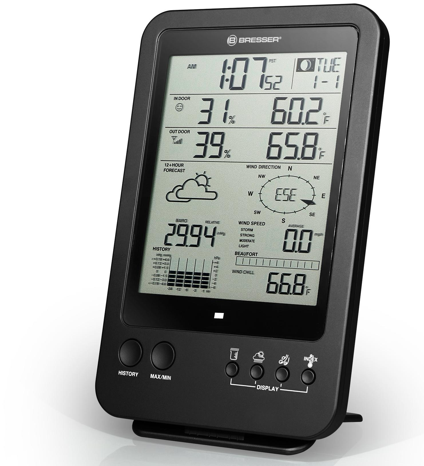 Bresser Wetterstation Wetter Center 5 - in - 1, Schwarz