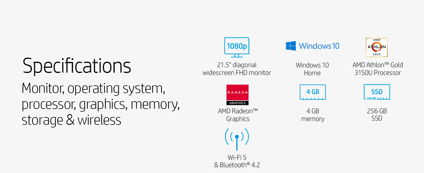 Specifications Gold 3150U Processor memory SSD bluetooth Realtek Wi-Fi 5 IPS