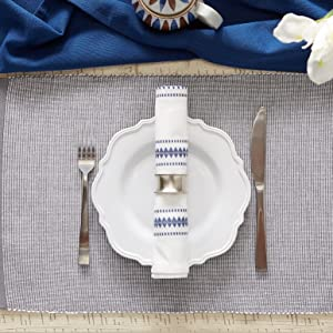dii gold, blue placemats, navy table runner, color placemats, snow table runner, placemat set,