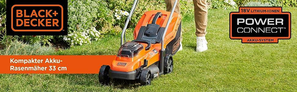 Compacte accu-grasmaaier met 33 cm maaibreedte voor regelmatig gebruik in de tuin.