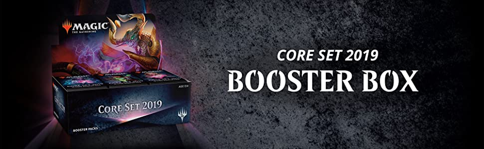 Booster Box product shot with text: Core Set 2019 Booster Box