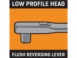 Low profile head with flush reverse lever infographic