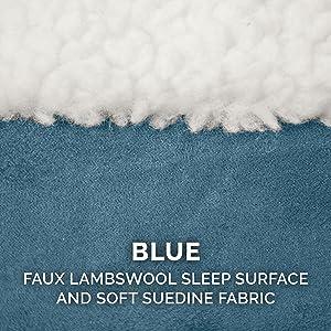 sleep surface; sherpa; fleece; sheepskin; suede; blue; white