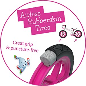 Airless Rubberskin Tires, No pump needed, balance bike
