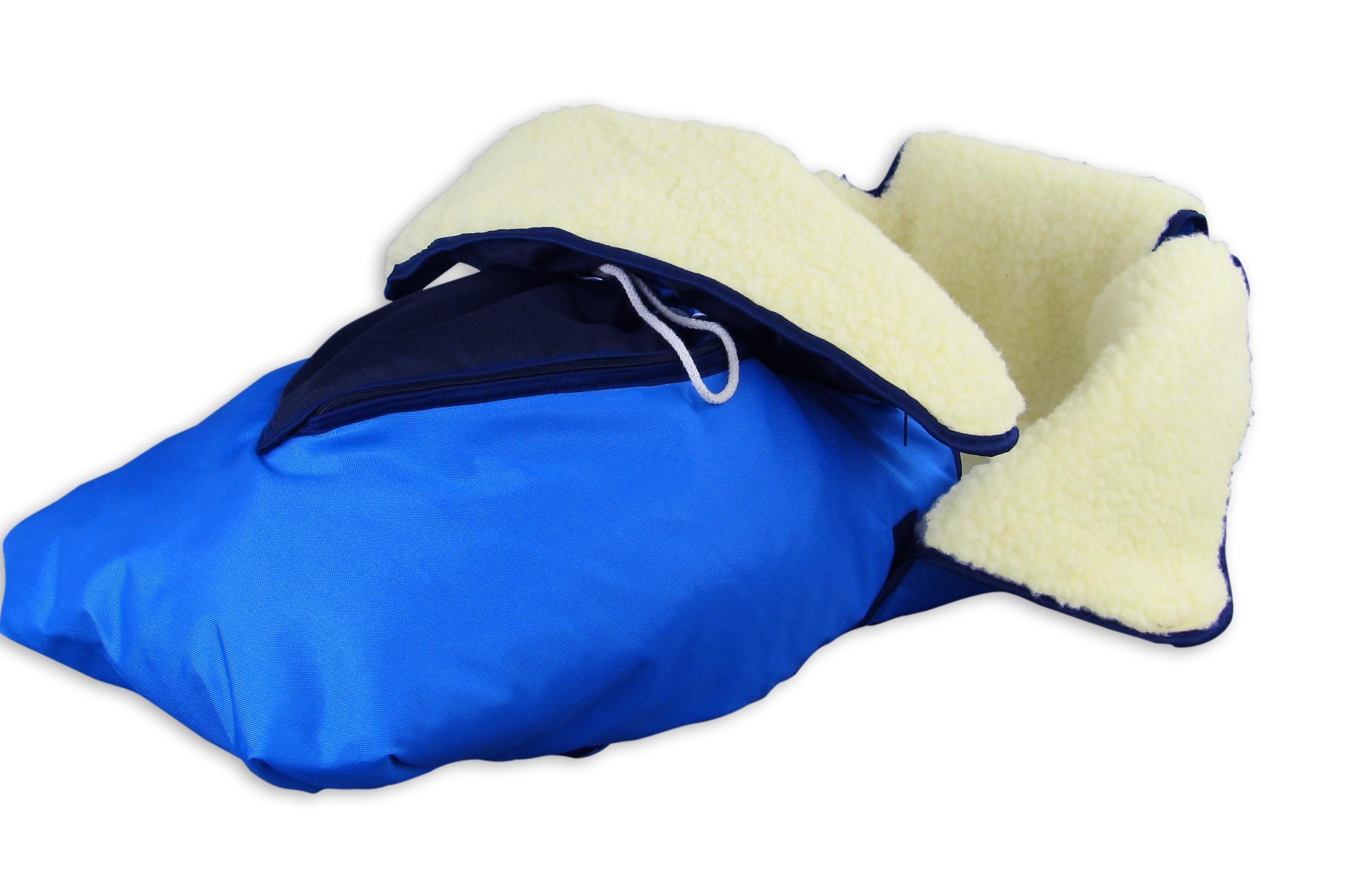 24.30-blau Fußsack mit Lammwolle Winterfußsack Schlittensack für ...