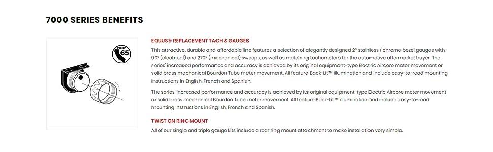 """Equus Hour Meter Gauge 7210; 7000 Series Hourmeter 0-10000 Hour 2-1//16/"""" Electric"""