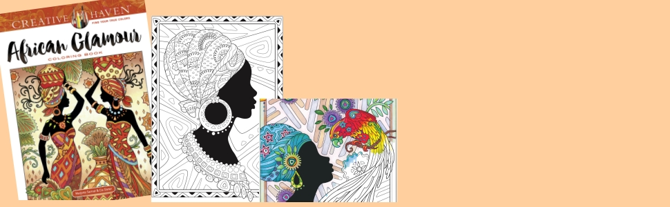 fashion adult coloring african