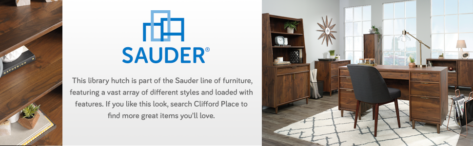 Sauder Clifford Place Library Hutch in a Grand Walnut Finish