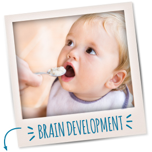 Made with iron to help support your little one's healthy brain development