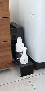 山崎実業 伸縮洗濯機排水口上ラック タワー ブラック 4339
