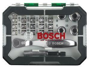 Bosch; accesorios; bricolaje; sets; puntas; atornillar; vaso; carraca; verde; gris;