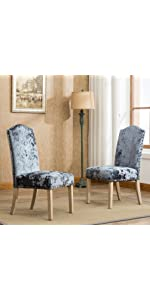 Roundhill Furniture Mod Urban Style Solid Wood Nailhead Fabric Padded Parson  Chair, Roundhill Furniture Caen Nail Head Urban Style Solid Wood Ice Velvet  ...