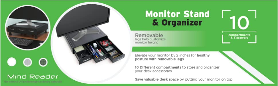 Stylish, multi-use, organizer, monitor stand, riser, drawers, compartments, adjustable