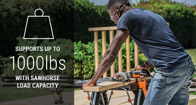 As a worktable, Pegasus can support up to 300 lbs, but folded into a sawhorse, hold up to 1000 lbs