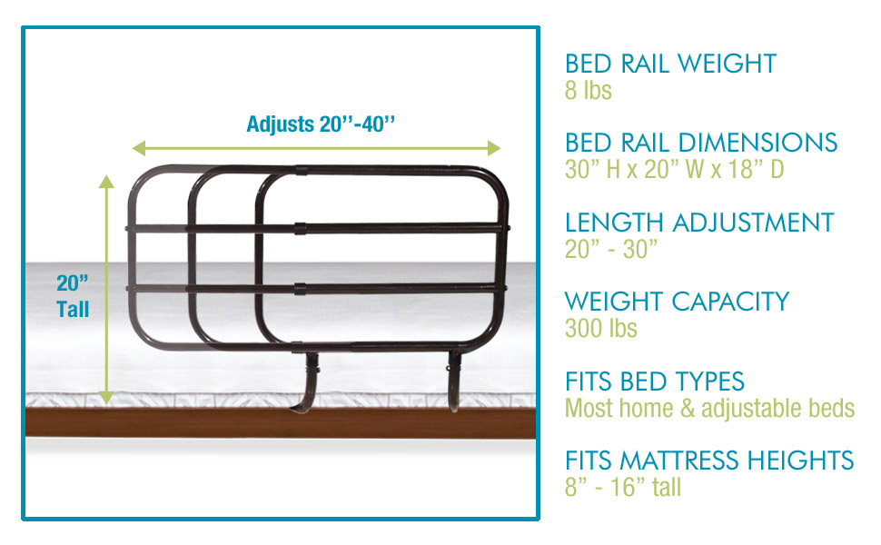 able life bed rail adjustable lightweight home traditional adjustable mattress length rail bedroom