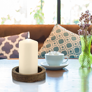 pillar candle, candle, ivory, white