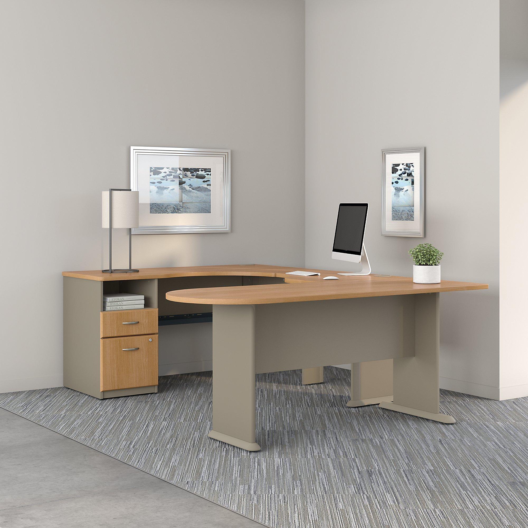 Amazon Com Series A U Shaped Corner Desk With Peninsula