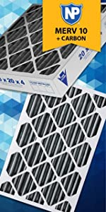 Nordic Pure 20x36x1 MERV 8 Pure Carbon Pleated Odor Reduction AC Furnace Air Filters 4 Pack