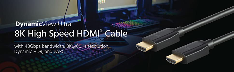 Dynamic HDR Dynamicview Ultra 8K HDMI Cable BlackHigh Speed Earc 48Gbps