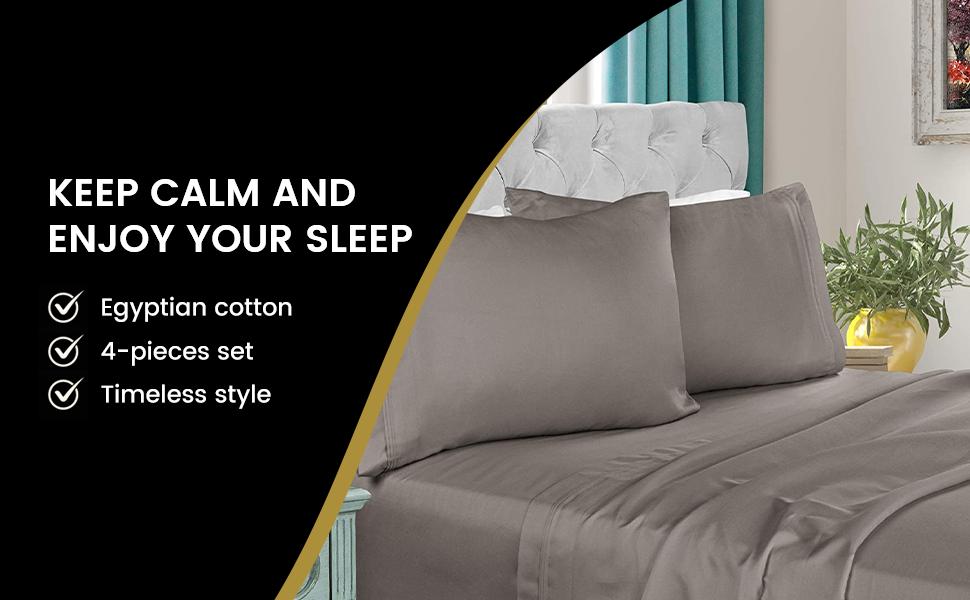 Superb 6 PCs Sheet Set Egyptian Cotton 1000 TC California King Size Strip Colors