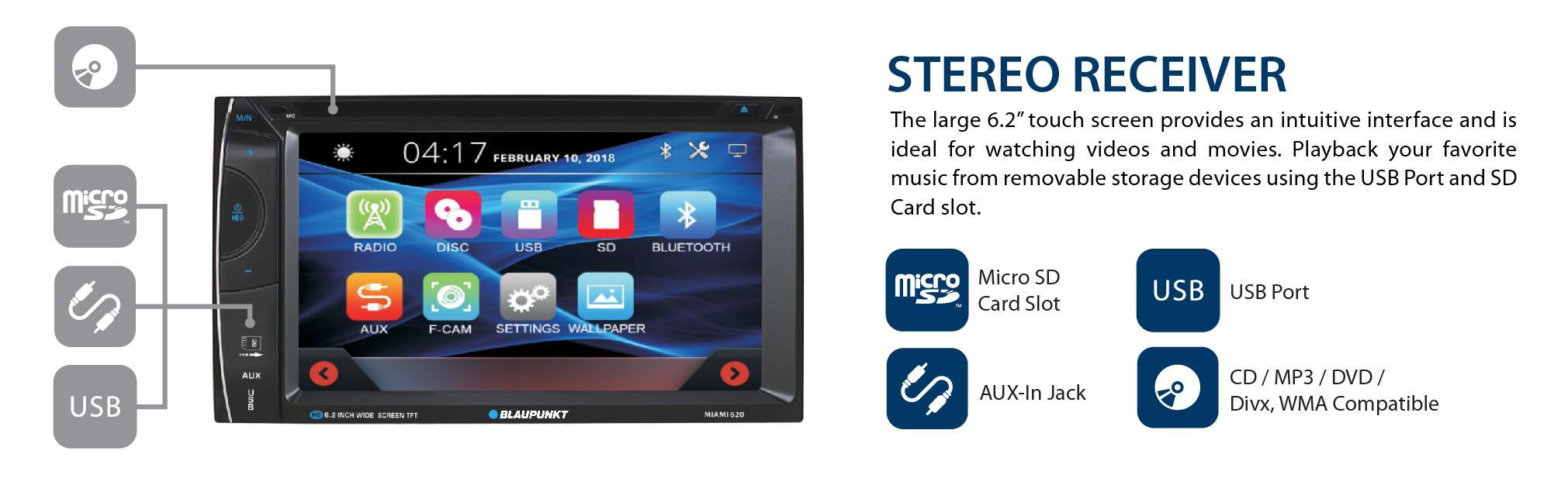 Blaupunkt Car Stereo MP3 AM FM Receiver CD DVD Aux-in SD Card High Quality