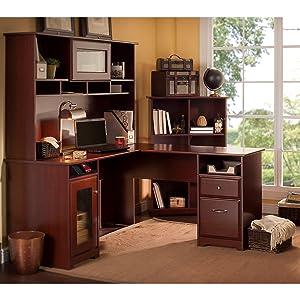 Cabot Corner Desk with Hutch and 6 Cube Bookcase