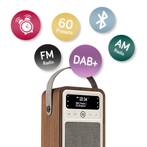 DAB Radio, FM Radio, AM Radio, Monty Radio, VQ, Bluetooth speaker