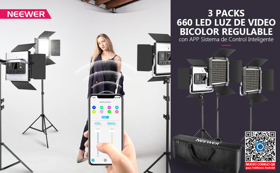 Neewer 3 Packs Luz Video LED 660 con Control de Aplicaciones Kit Iluminación de Video y Soporte de Luz Regulable 40W Bicolor 3200K-5600K Alto CRI con Difusor Barndoor Bolsa para Estudio: Amazon.es: