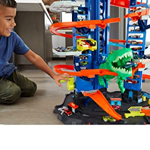Hot Wheels, megagaraje, T-Rex robot, juego, coches, garaje, navidad, niños, aniversario