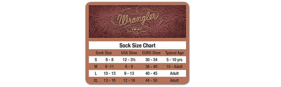 wrangler size chart socks