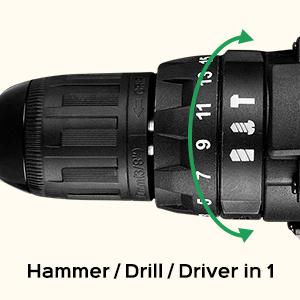 Drill Drivers Cordless Drill Impact Drill 20V Drill Mini Drill with Keyless Metal Chuck