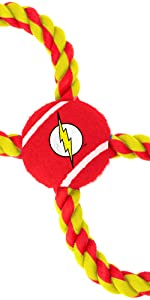 The Flash Barry Allen Speedster Dog Toy Rope Tennis Ball Tug DC Comics Justice League