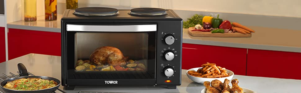 tower t14013 mini oven with 2 hot plates and grill 1000 w. Black Bedroom Furniture Sets. Home Design Ideas