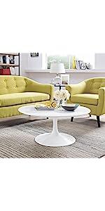 Amazoncom Modway Lippa OvalShaped Wood Top Dining Table - White tulip table 48