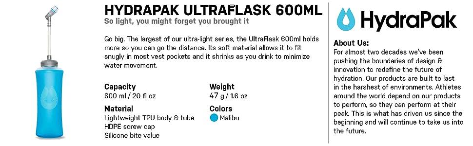 Amazon Com Hydrapak Ultraflask Soft Flask Malibu Blue 600ml