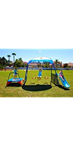 kids outdoor playground includes trampoline swings and slide fitness reality kids 7 station sports series metal swing set fitness reality kids u0027the
